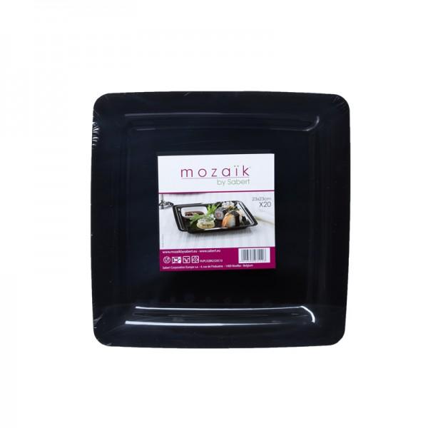 Assiette carrée GM Noire / 20p